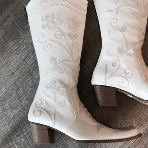 Shoes - Handmade Leather Floral Embroidered Cowboy Boots